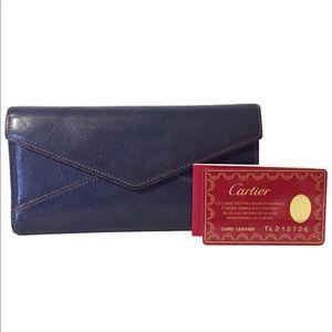 Cartier blue leather envelope trifold snap wallet
